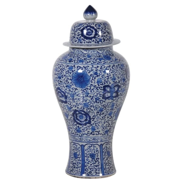 Giant Blue and White Chinoiserie Crackle Urn