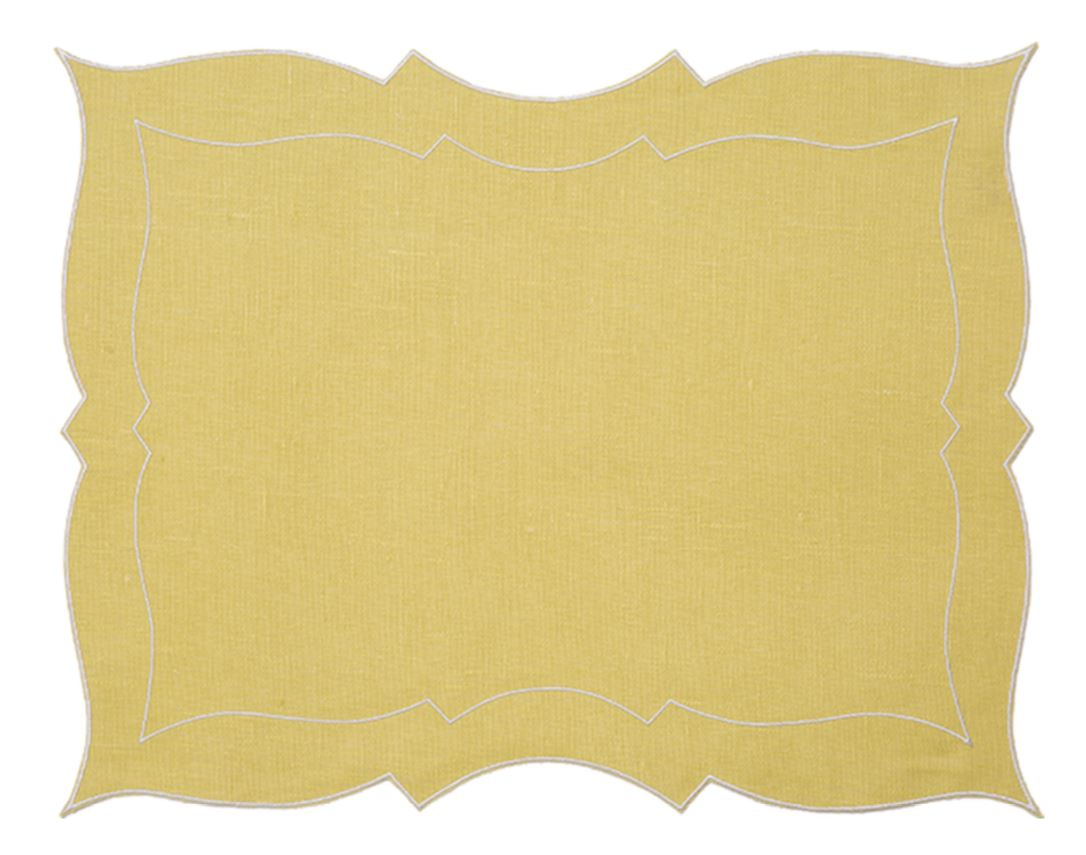 Capri Linen Waxed Placemat In Lemon