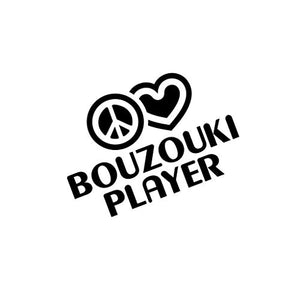 PressFans - Peace Love Bouzouki Player Music Car Laptop Sticker Decal