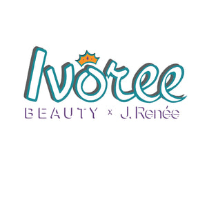 Logo image reads Ivoree Beauty x J. Renée in white letters outlined in teal and purple accents. A golden crown floats above the image.