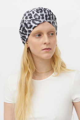 ELISABETH BLACK AND WHITE ANIMALIER TURBAN