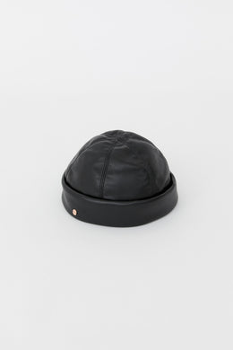 DENISE BLACK ECO-FRIENDLY LEATHER HAT