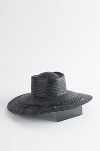 LUNARIA BLACK STRAW HAT