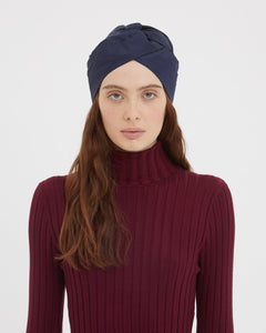 GENOVEFFA BLUE LIGHTWOOL TURBAN