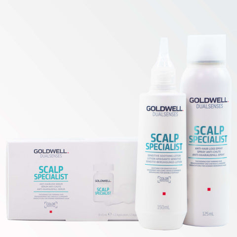 Exklusives Spar Bundle: Goldwell Dualsenses Scalp Specialist = Sensitive Soothing Lotion 150 ml + Anti-Hairloss Spray 125 ml + Anti-Hair Loss Serum 8x6 ml