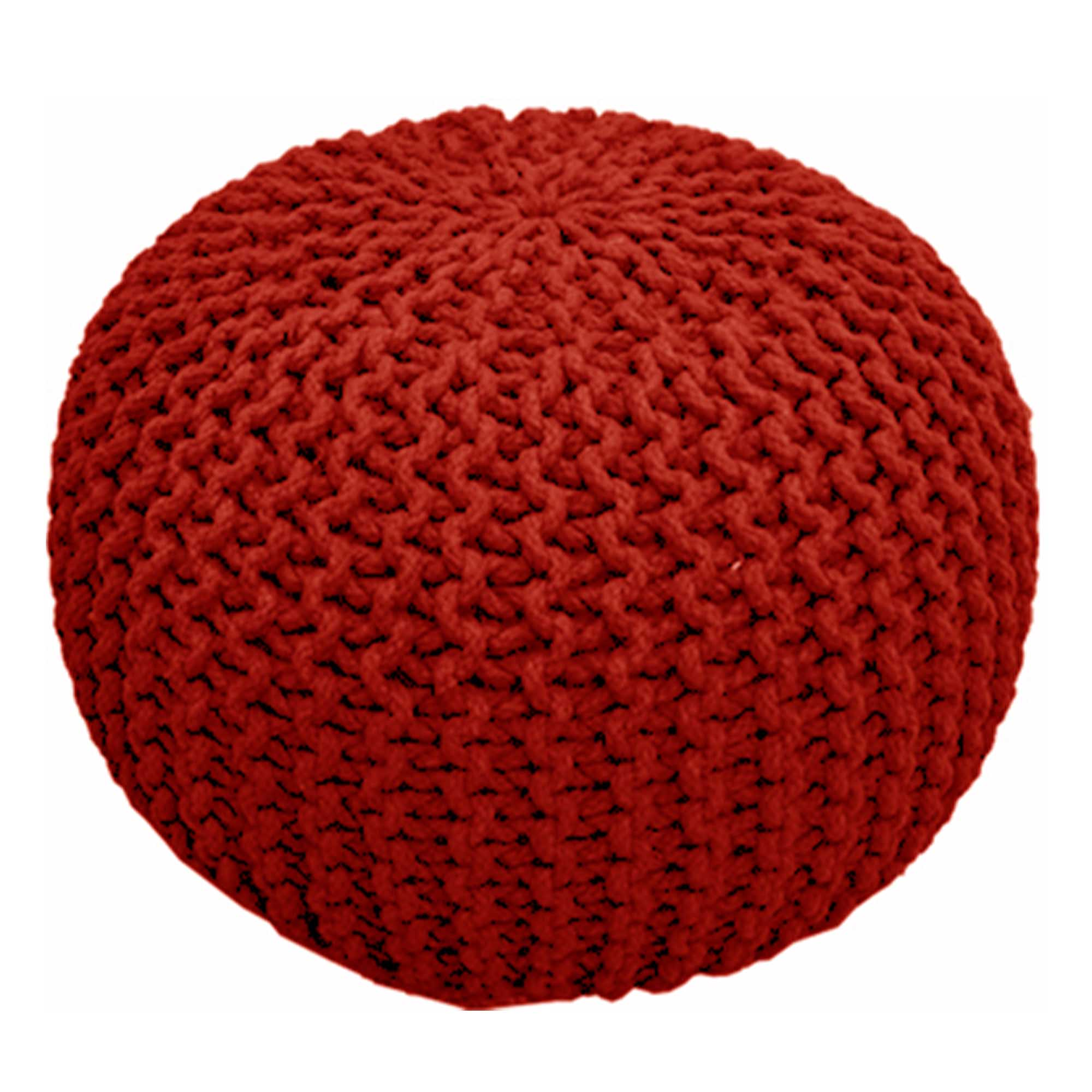 Chunky Knit Pouf - Red - CAM Living