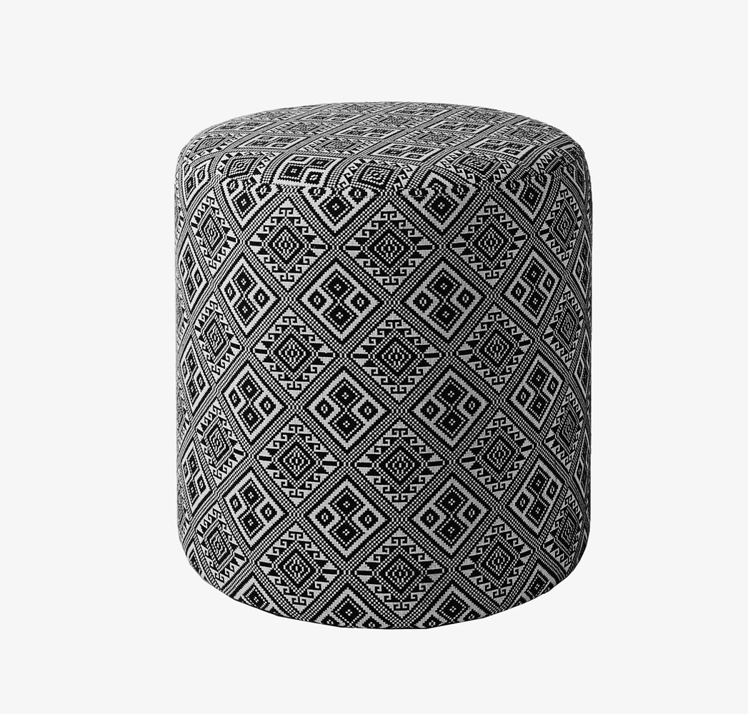 Bohemian Pouf - Black & White - CAM Living