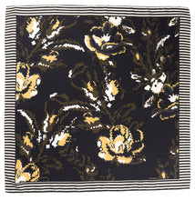 Load image into Gallery viewer, Fleur Silk Scarf - Black