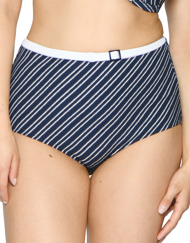Curvy Kate Sailor Girl High Waist Bikini Brief Navy Stripe