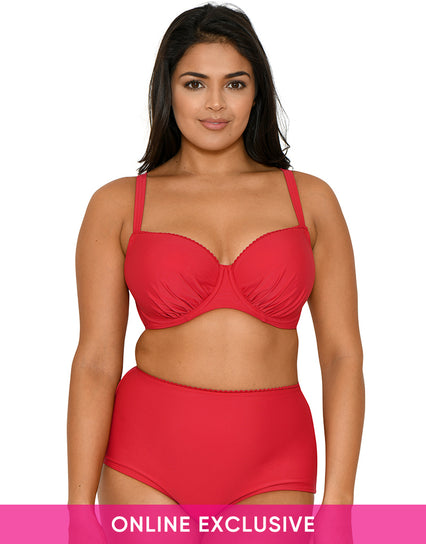 Curvy Kate Jetty Padded Balcony Bikini Top Cherry Red
