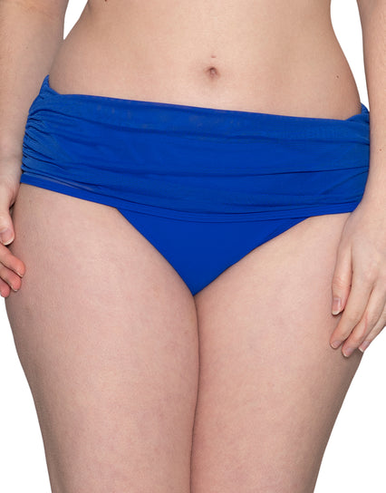 Curvy Kate Sheer Class Deep Fold Over Bikini Brief Cobalt