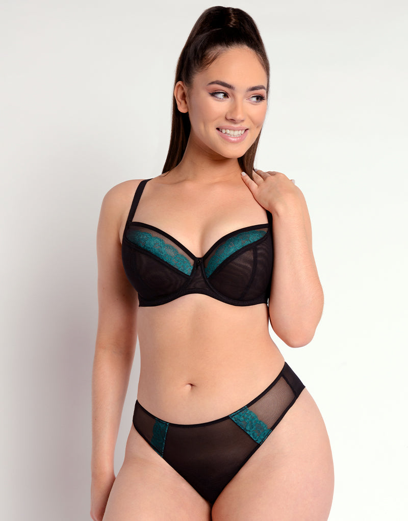 Curvy Kate Eye Spy Balcony Bra Black/Turquoise