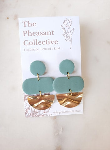Aspen Earrings in Juniper Green