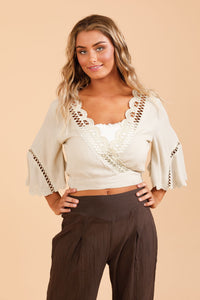 Shiraz Wrap Top - Oyster