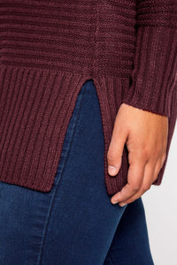 Ribbed Knitted Jumper - Berry