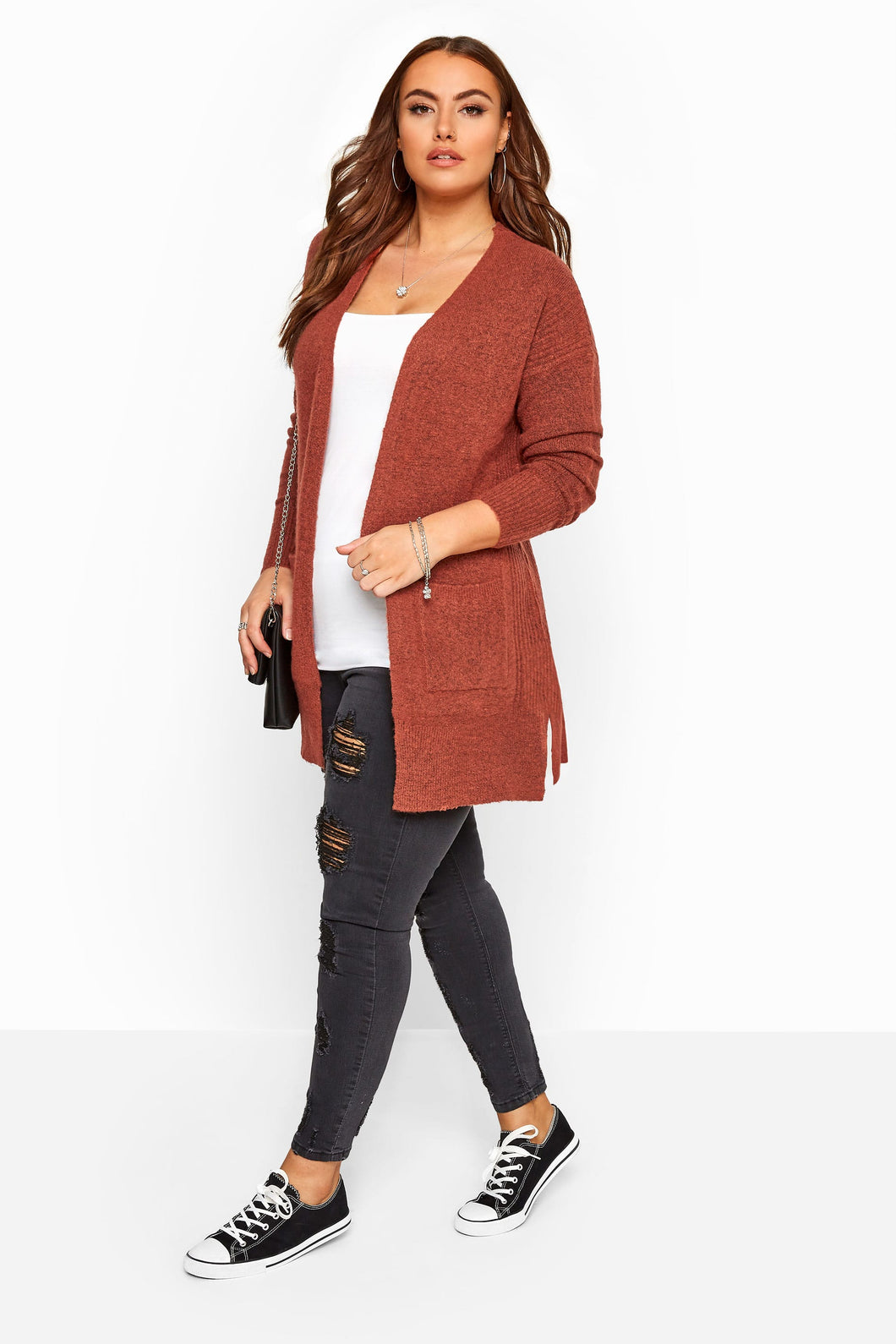 Ribbed Trim Cardi - Rust
