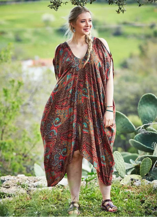 Cold Shoulder Dress in Paisley