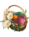 Peach Gerbera Fruit Basket with Chicken Essence