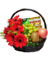 Red Gerbera Fruit Basket with Chicken Essence and Bird Nest
