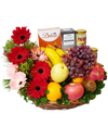 Red Gerbera Fruit Basket with Tidbits and Bird Nest