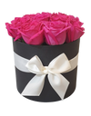 Luxurious Fuchsia Pink Fresh Rose in Round Box (Medium)