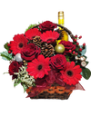 Festive Red Basket With Wine