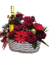 Enchanted Christmas Basket With Wine