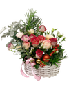 Festive Rose Mixed Floral Basket with Handle