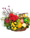 Red Gerbera Yellow Rose Fruit Basket with Tidbits and Chicken Essence and Bird Nest
