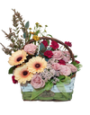 Gerbera and Rose Mixed Floral Basket with Handle