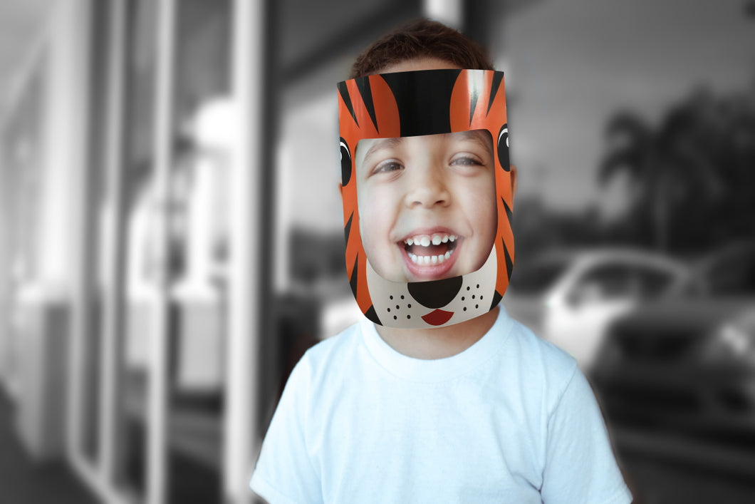CHILD (TIGER) DISPOSABLE PPE FACE SHIELD - prestigepkg