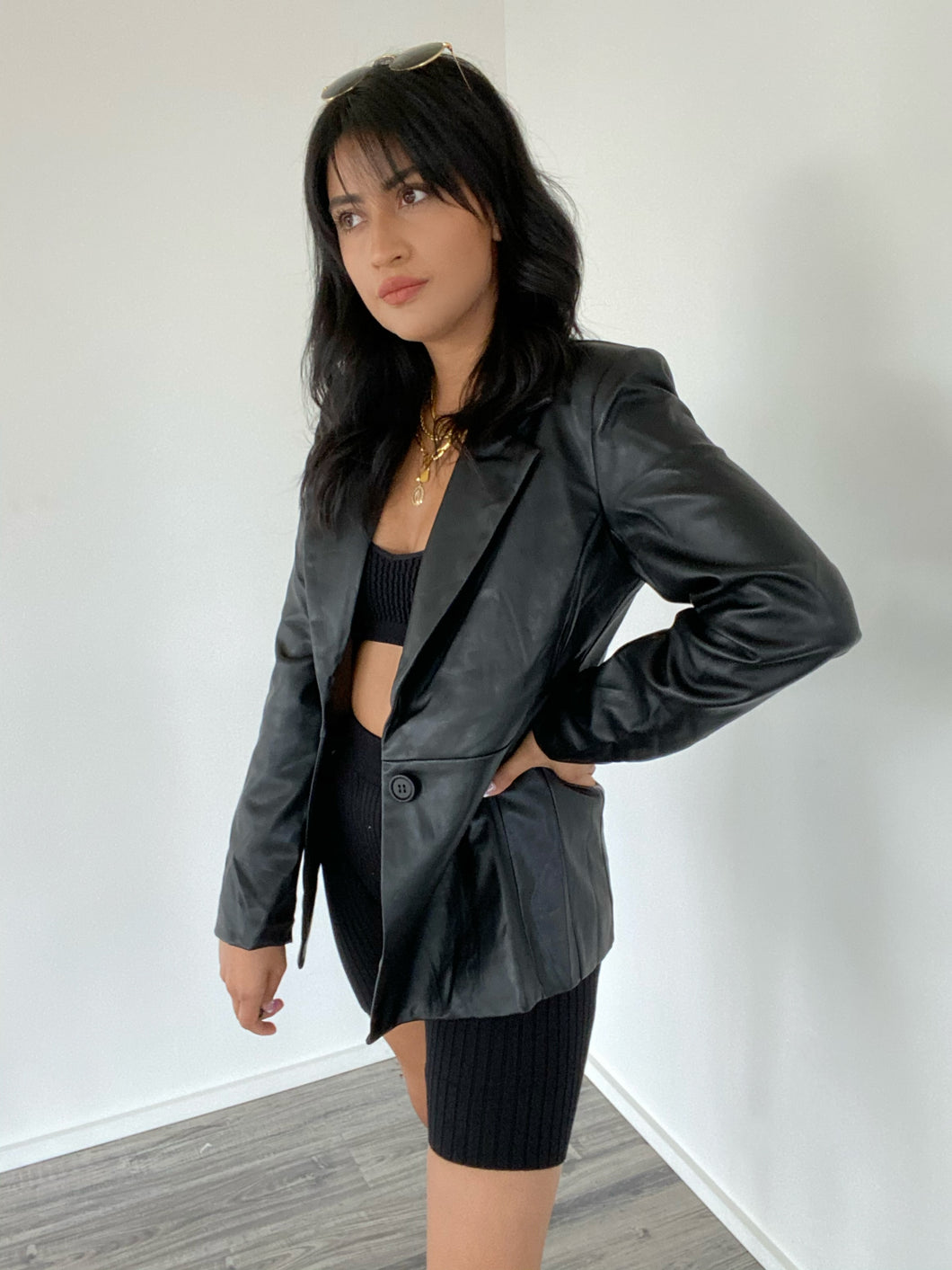 Unfinished Business Faux Leather Blazer