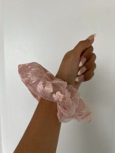Pink Embroidered Oversize Scrunchy
