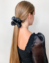 Load image into Gallery viewer, Black Silk Organza Oversized Scrunchies