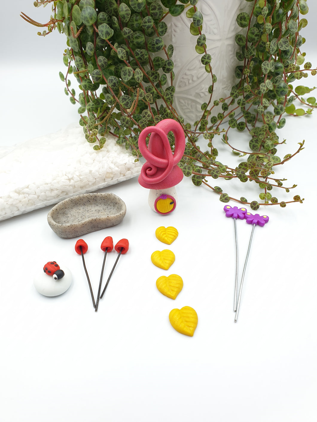 Miniature garden starter kit - shimmery hot pink