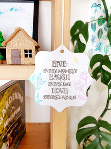 Wall art hanging - Live, laugh, love