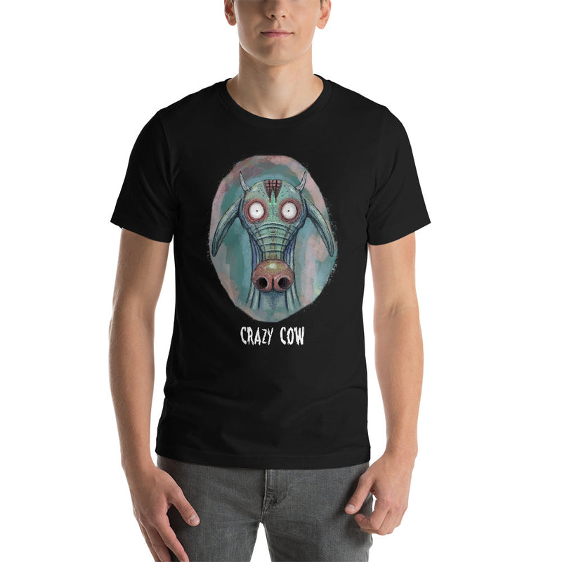 Crazy cow Unisex T-Shirt -Black