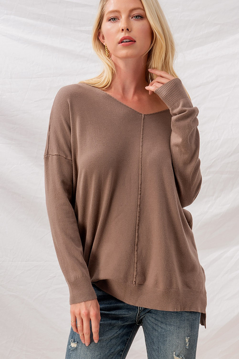 Mocha High Low Tunic Sweater