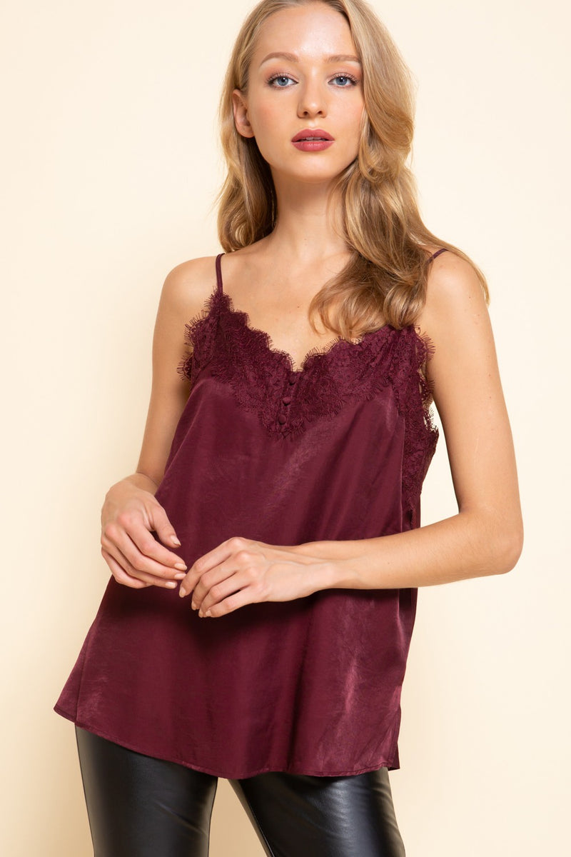 Burgundy Lace Trim Cami