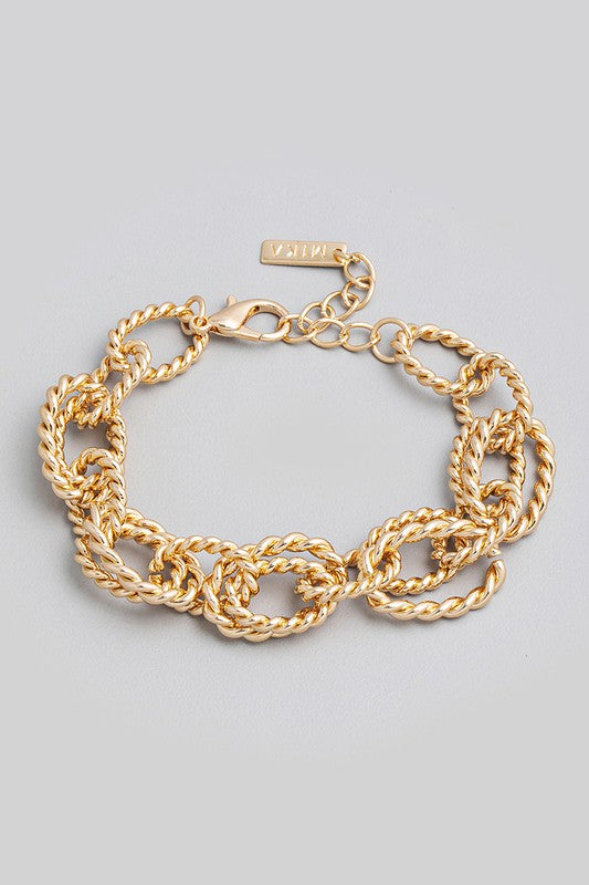 Gold Rope Chain Link Bracelet