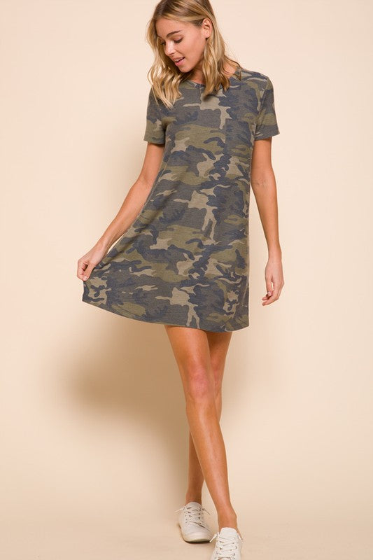 Camo Short Sleeve Dress
