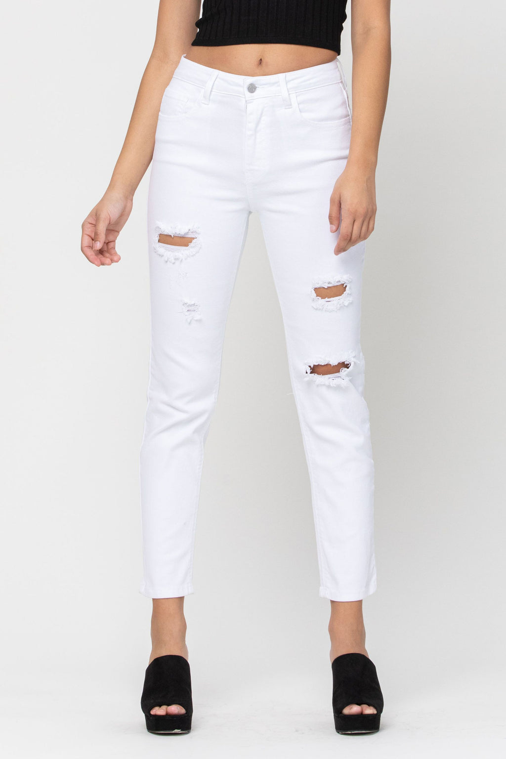 Cello High Rise White Distressed Jeans