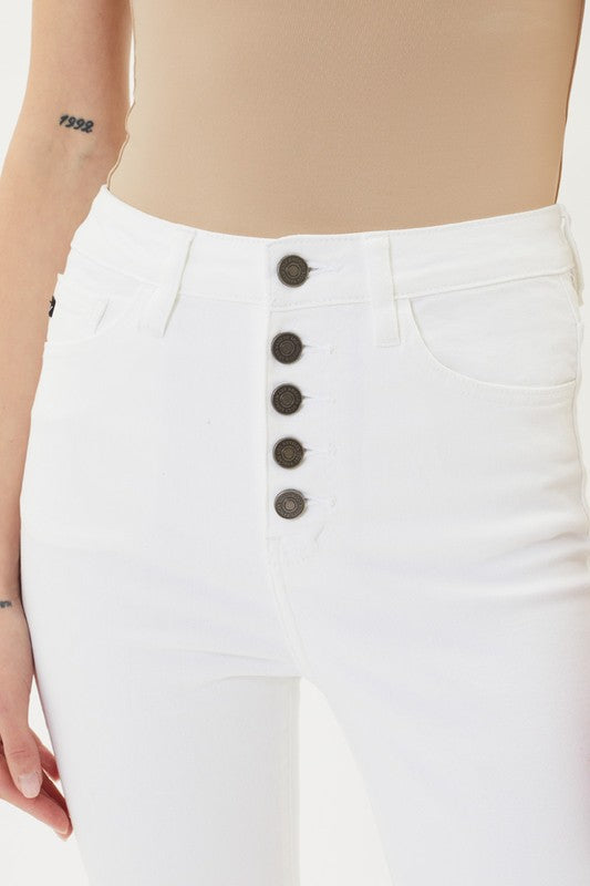 Kan Can High Rise White Skinny Jeans
