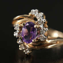 Load image into Gallery viewer, Jewel Thierry Vintage Amethyst & Diamond Ring
