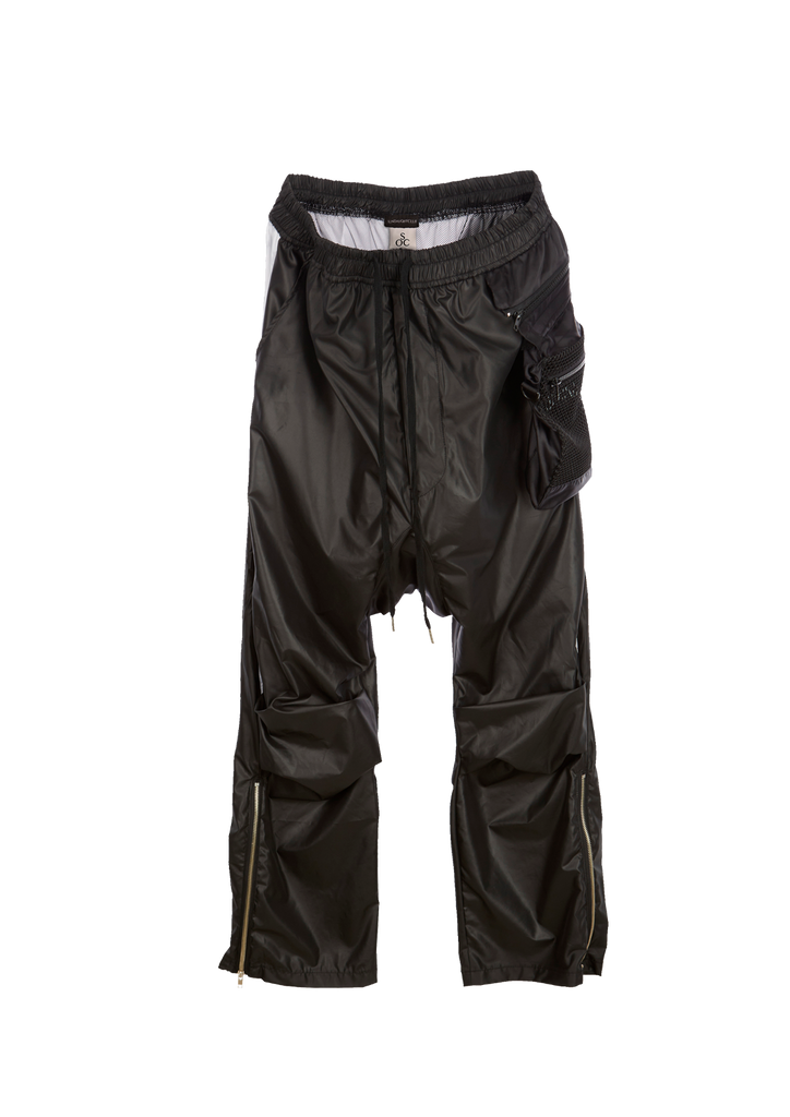 Monochrome  Drop Crotch Pants - Black