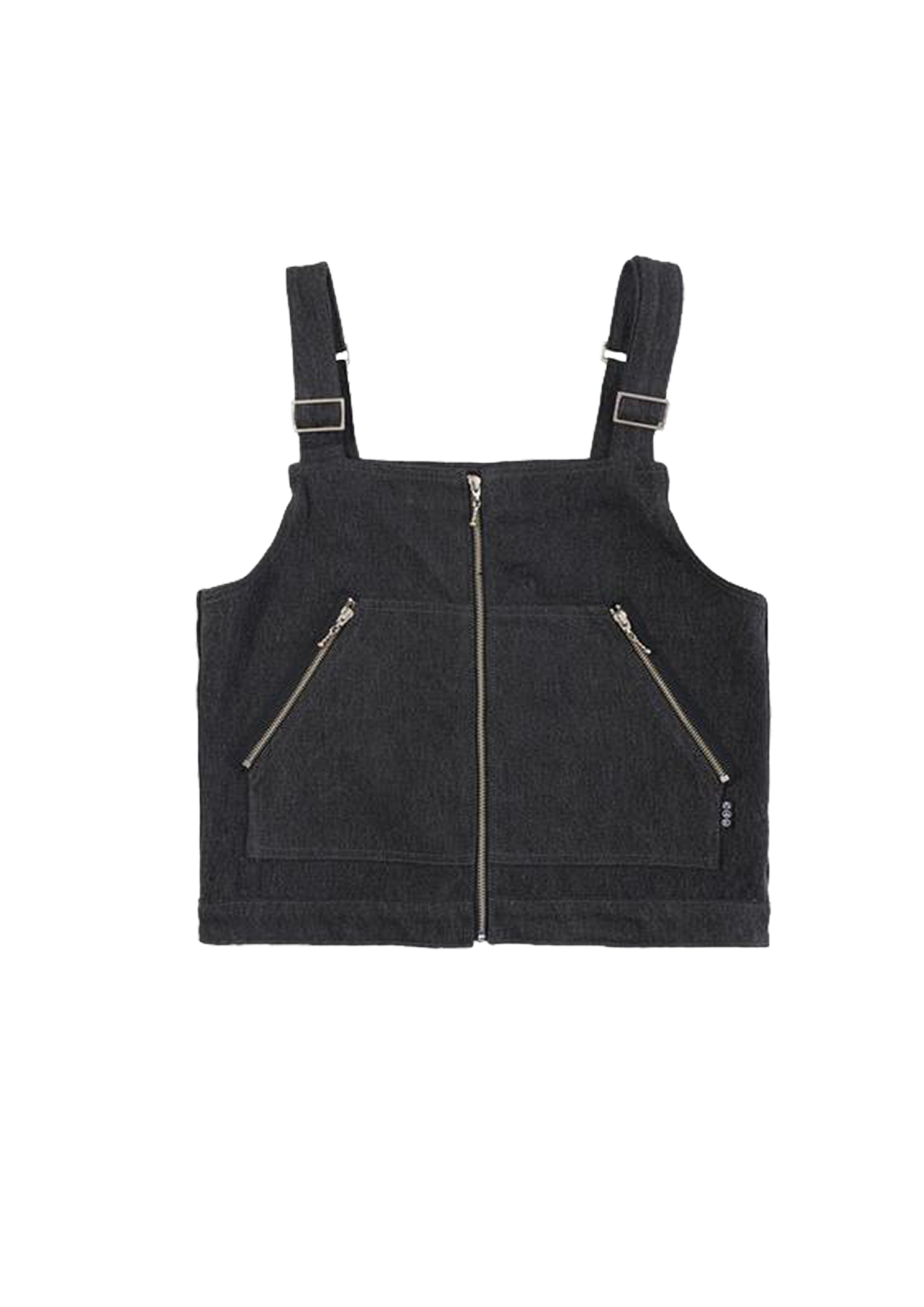 Denim Cargo Gilet Vest - Black