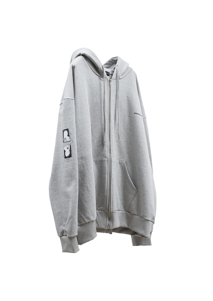 Logo Zip-Up Hoodie - Grey