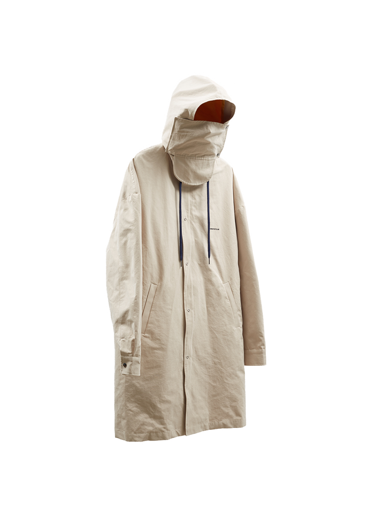 Shame Artwork Hooded Mac Coat w/ Mask - Beige