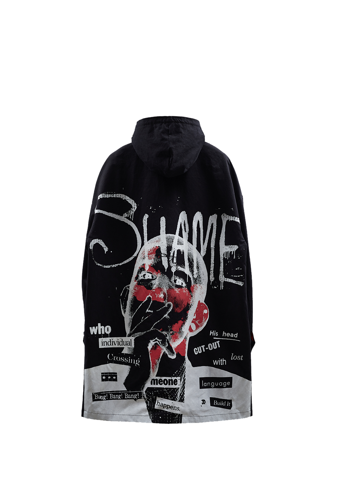 Shame Artwork Hooded Mac Coat w/ Mask - Black