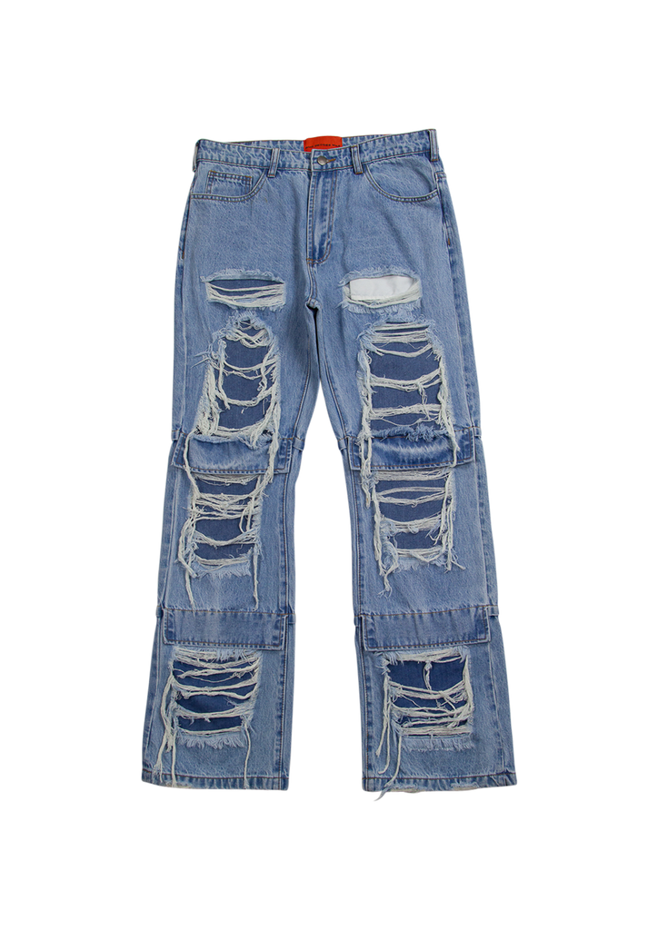 Knee Flap Distressed Denim - Blue